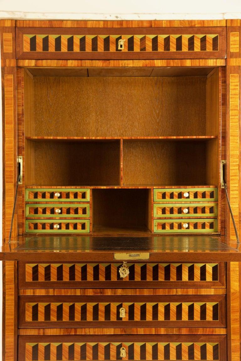 French 18th Century Louis XVI Trompe l'Oeil Marquetry Desk or Secrétaire Chiffonière For Sale