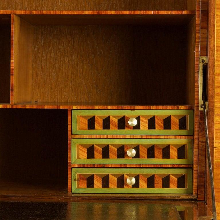 Carved 18th Century Louis XVI Trompe l'Oeil Marquetry Desk or Secrétaire Chiffonière For Sale