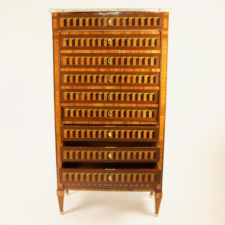 Late 18th Century 18th Century Louis XVI Trompe l'Oeil Marquetry Desk or Secrétaire Chiffonière For Sale