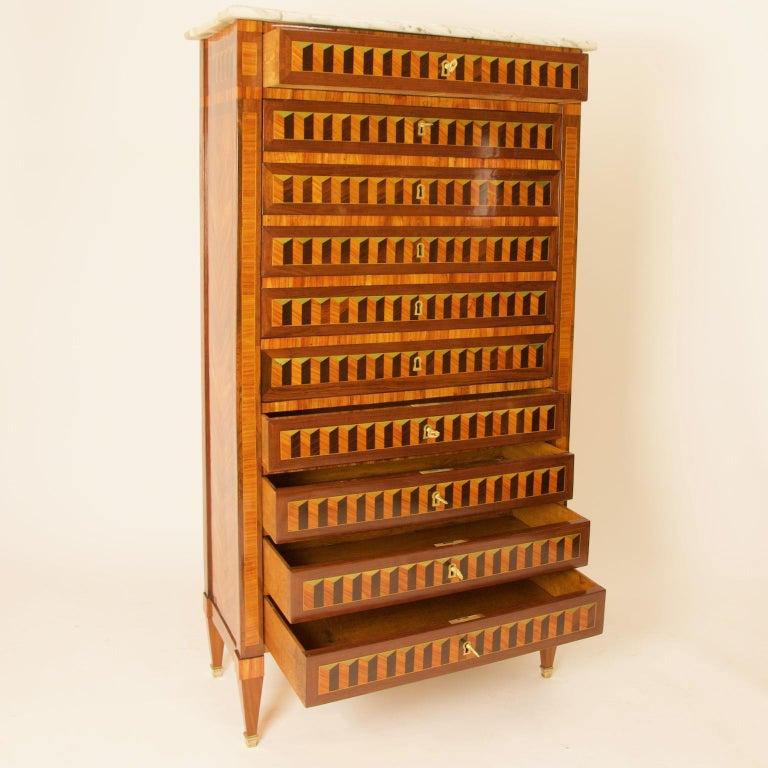 18th Century Louis XVI Trompe l'Oeil Marquetry Desk or Secrétaire Chiffonière For Sale 2