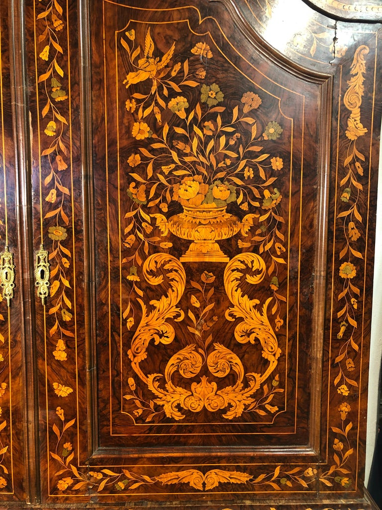 Early 19th Century 18th Century Louis XVI Walnut Ducth Inlay Trumeau Armocheirs ,1800s For Sale