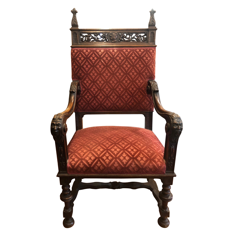 18th Century Louis XVI Walnut Italian Armchair