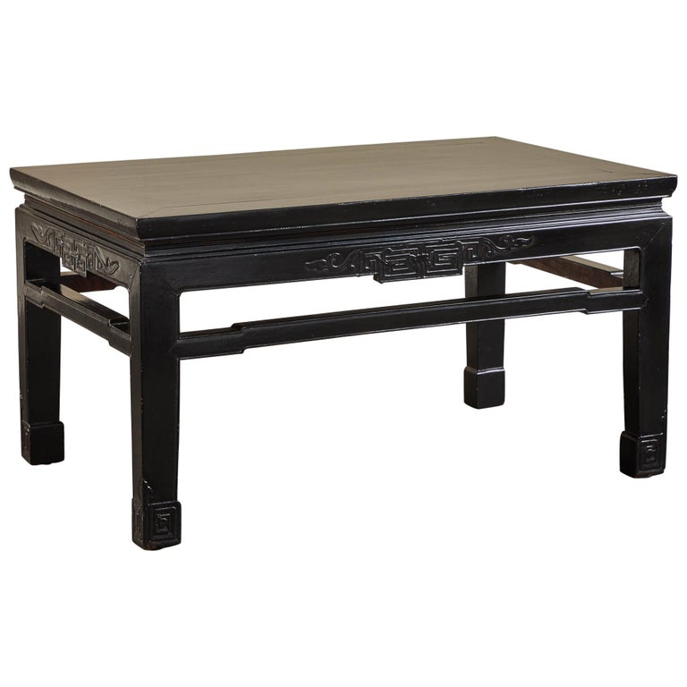 18th Century Low Black Lacquer Kang Table For Sale