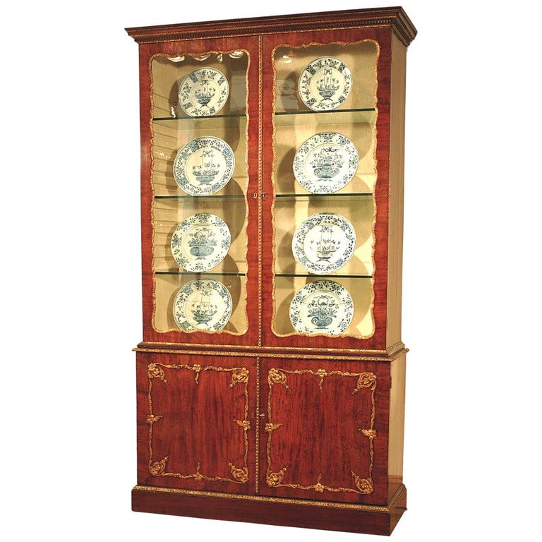 18th Century Mahogany and Gilt Display Bookcase For Sale