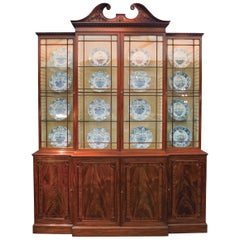 18th Century Mahogany Breakfront Bookcase with Swan Neck Pediment