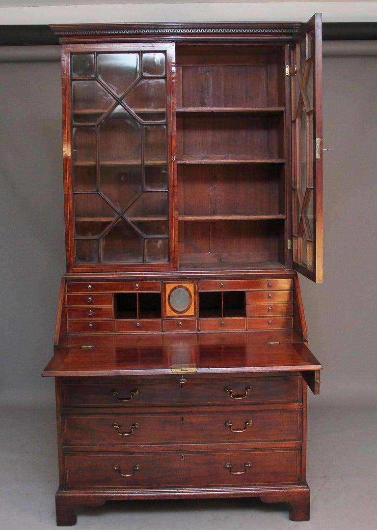 Georgian 18th Century Mahogany Bureau Bookcase For Sale