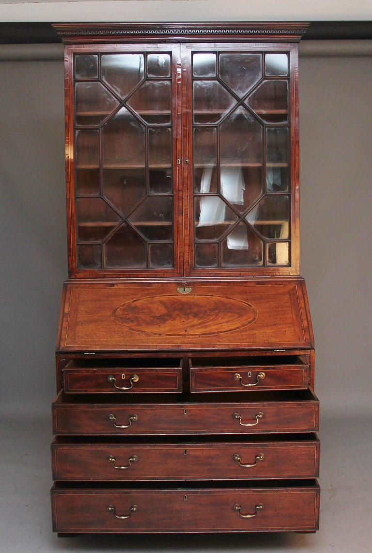 British 18th Century Mahogany Bureau Bookcase For Sale