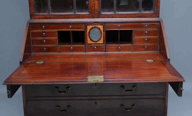 18th Century Mahogany Bureau Bookcase In Good Condition For Sale In Martlesham, GB