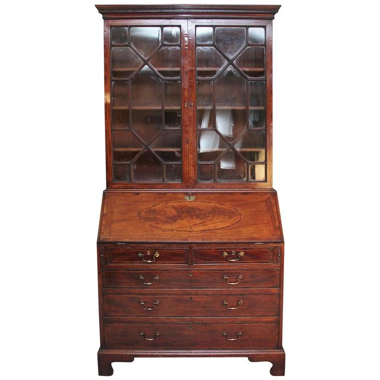 18th Century Mahogany Bureau Bookcase For Sale