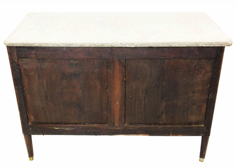 18th Century Mahogany Chest Stamped Conrad Mauter with White Veined Marble Top For Sale 1
