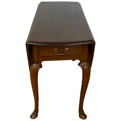 18th Century Mahogany Drop-Leaf Table with Hoof Feet