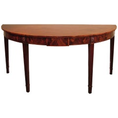 18th Century Mahogany Half Round Console or Serving Table