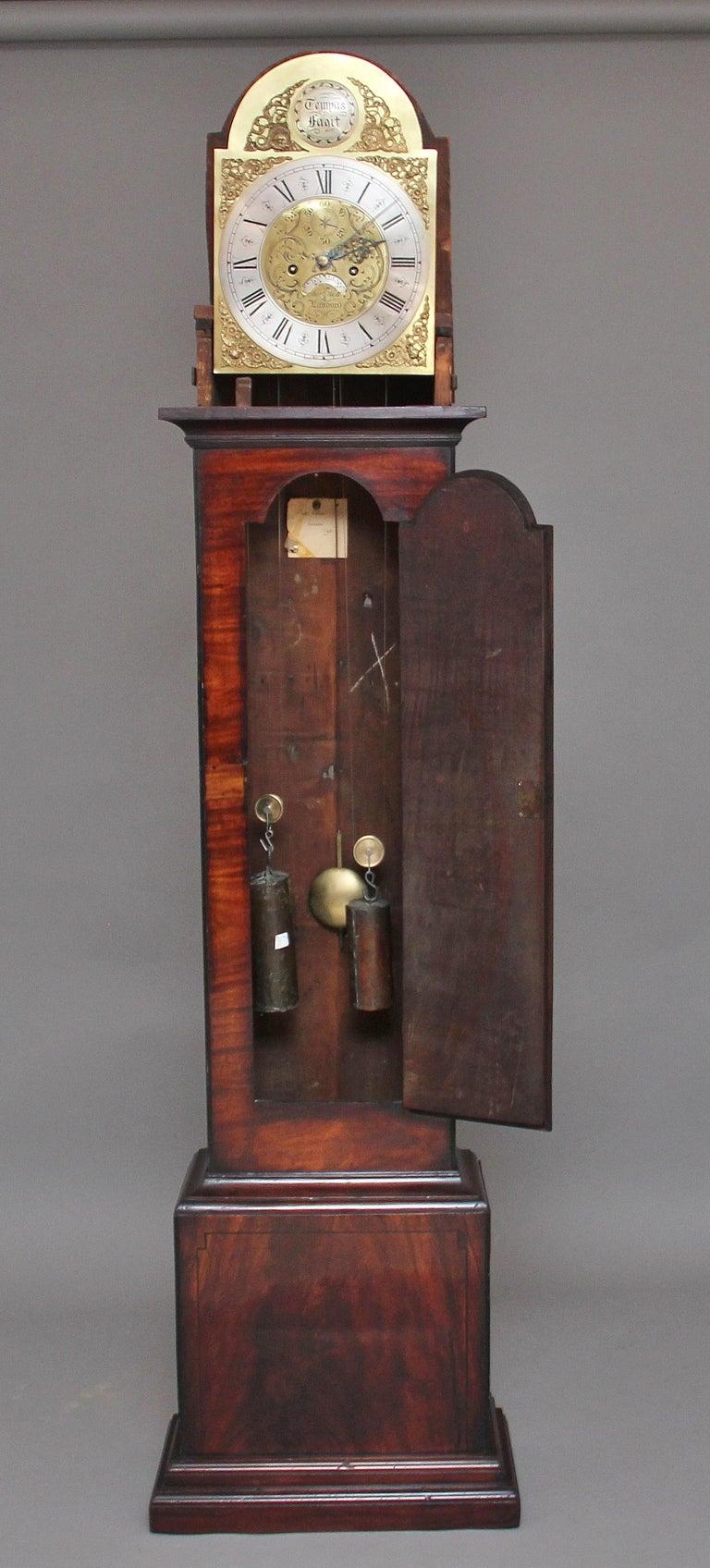 British 18th Century Mahogany Long Case Clock For Sale