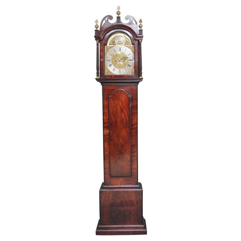 18th Century Mahogany Long Case Clock For Sale