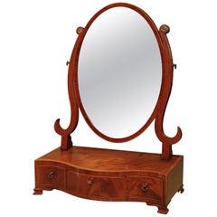 18th Century Mahogany Oval Toilet Mirror