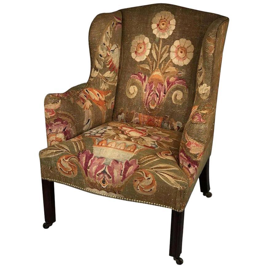 18th Century Mahogany Wingback Armchair