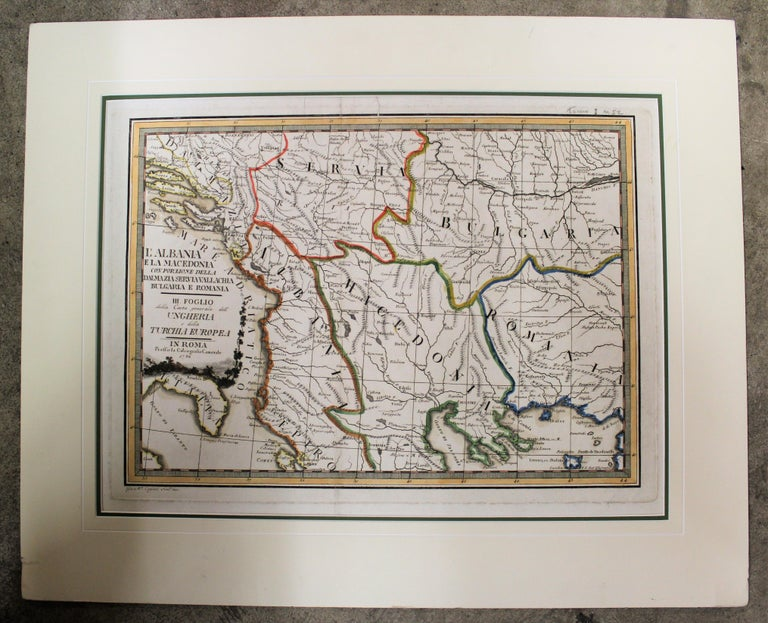 Italian 18th Century Map of the Southern Balkans by Giovanni Maria Cassini For Sale