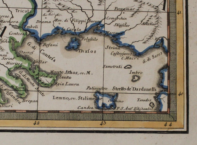 18th Century and Earlier 18th Century Map of the Southern Balkans by Giovanni Maria Cassini For Sale