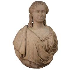 18th Century Marble Antique Italian Bust Noblewoman Portrait Sculpture, 1770