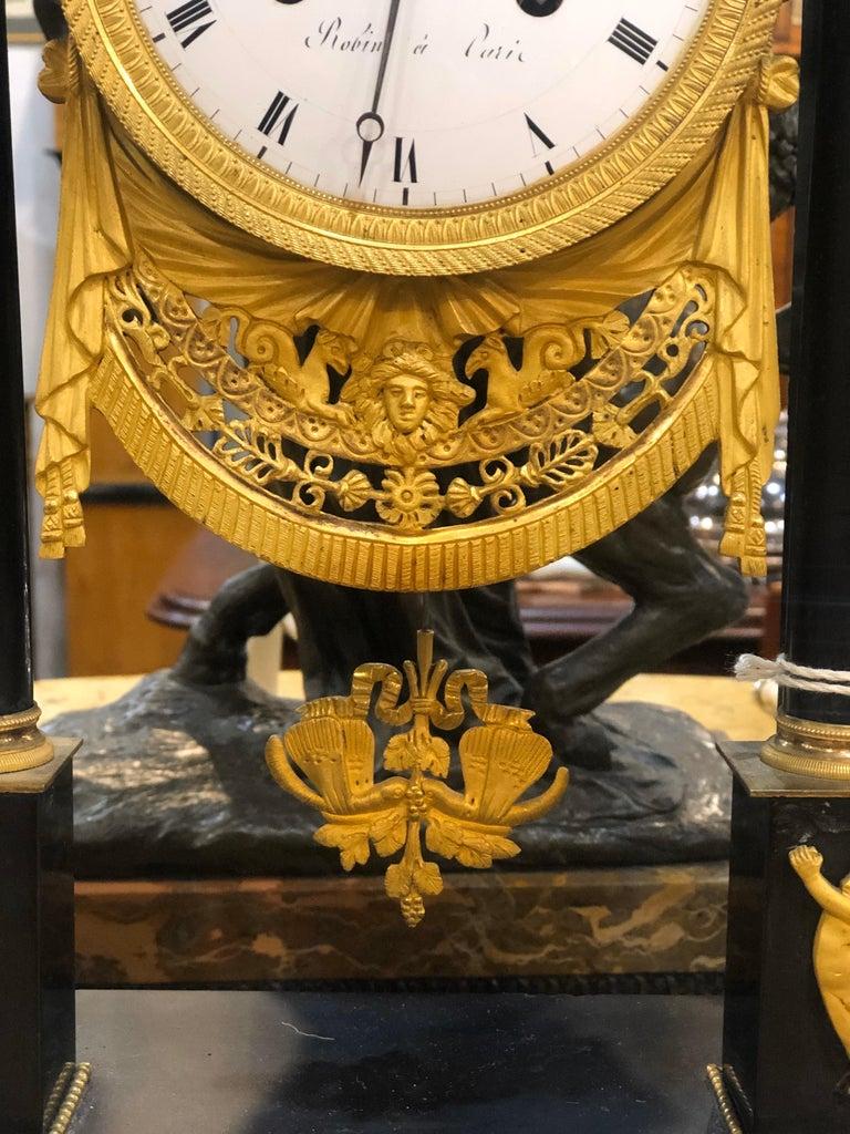 Gilt 18th Century French Black Marble Clock Louis XVI Robert Robin For Sale