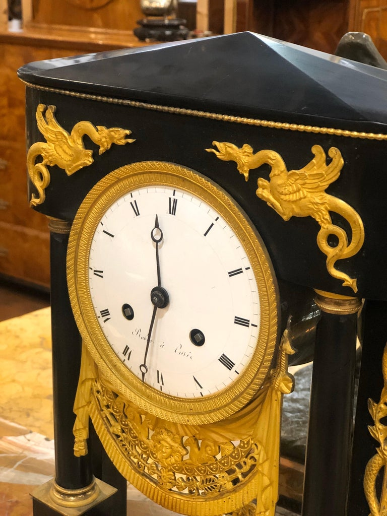 18th Century French Black Marble Clock Louis XVI Robert Robin For Sale 1