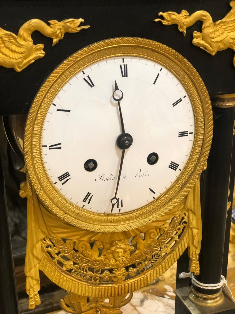 18th Century French Black Marble Clock Louis XVI Robert Robin For Sale 3