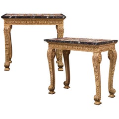 18th-Century Marble Specimen and Pietre Dure Console Tables