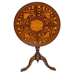18th Century Marquetry Tilt-Top Tripod Table