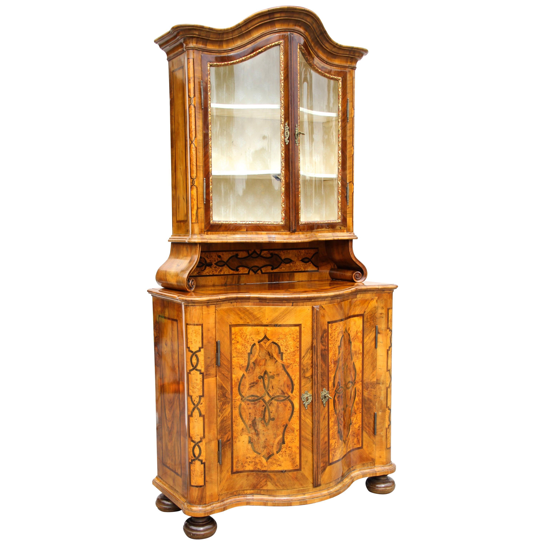 18th Century Marquetry Vitrine Cabinet or Display Cabinet, Austria, circa 1760