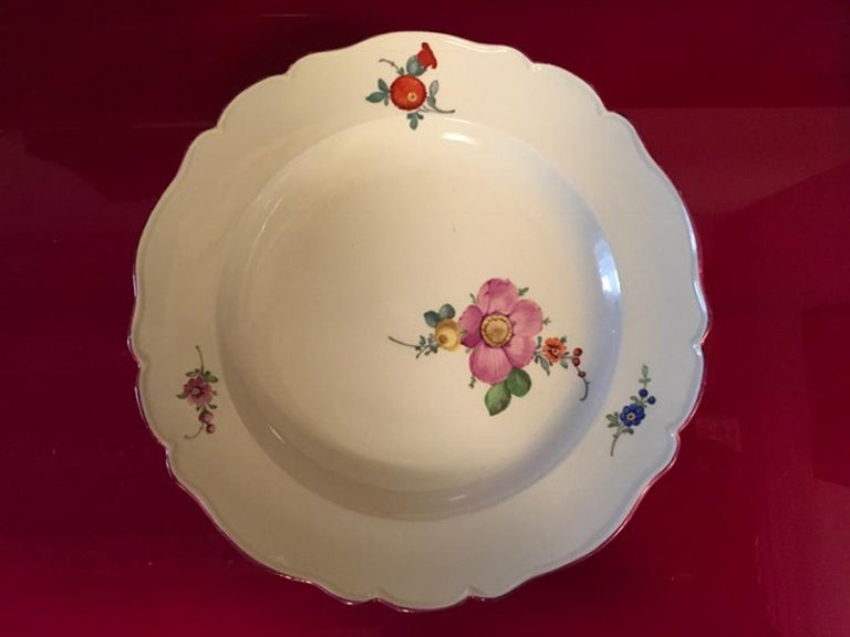 18th Century Meissen 12 Antique Floral Baroque Style Porcelain Dining Dishes For Sale 7
