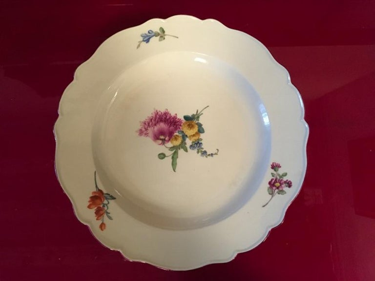 German 18th Century Meissen 12 Antique Floral Baroque Style Porcelain Dining Dishes For Sale