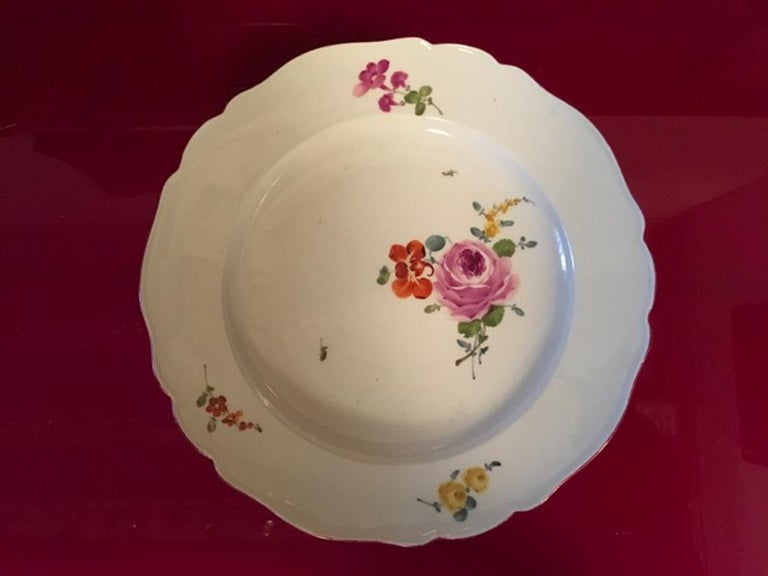 Hand-Crafted 18th Century Meissen 12 Antique Floral Baroque Style Porcelain Dining Dishes For Sale