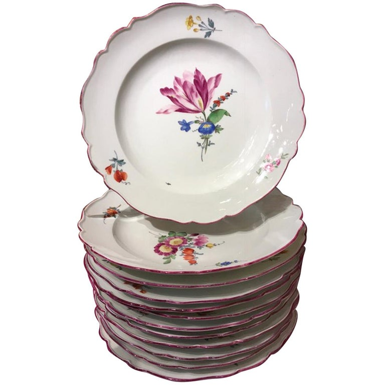 18th Century Meissen 12 Antique Floral Baroque Style Porcelain Dining Dishes For Sale