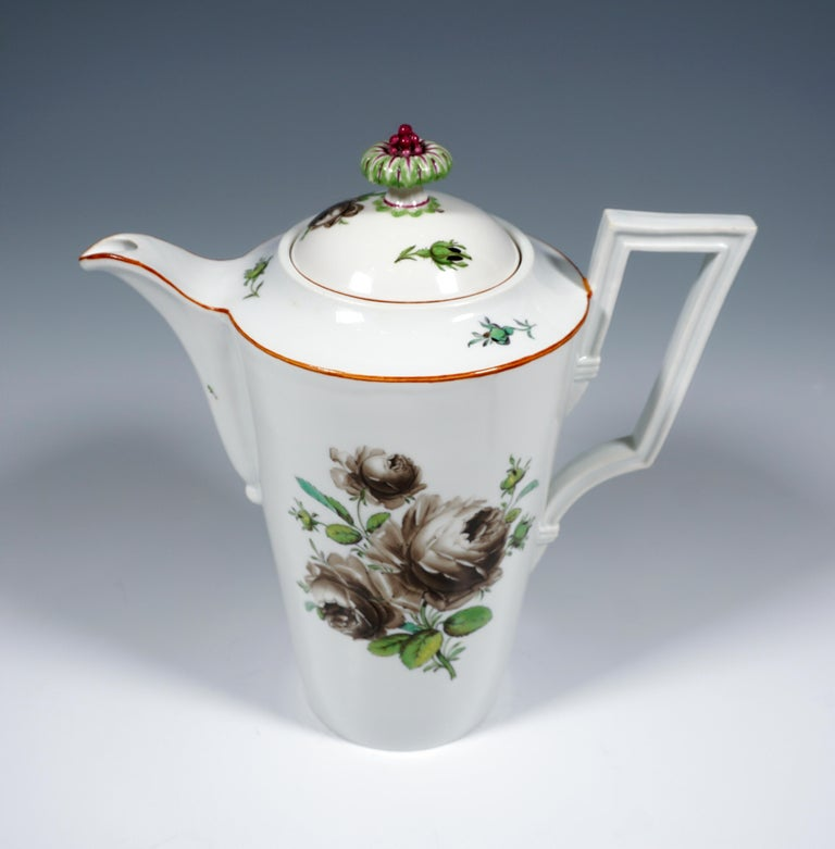Baroque 18th Century Meissen Coffee & Tea Set for 9 Persons with Black Rose Decor For Sale