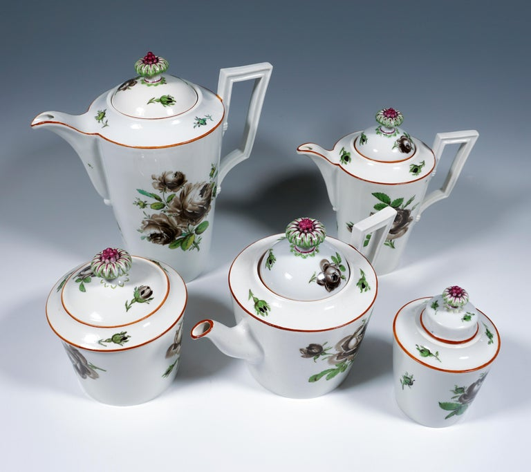 Hand-Crafted 18th Century Meissen Coffee & Tea Set for 9 Persons with Black Rose Decor For Sale