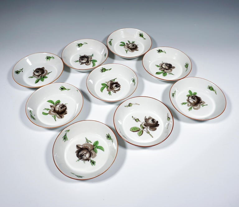 Late 18th Century 18th Century Meissen Coffee & Tea Set for 9 Persons with Black Rose Decor For Sale