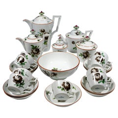 18th Century Meissen Coffee & Tea Set for 9 Persons with Black Rose Decor
