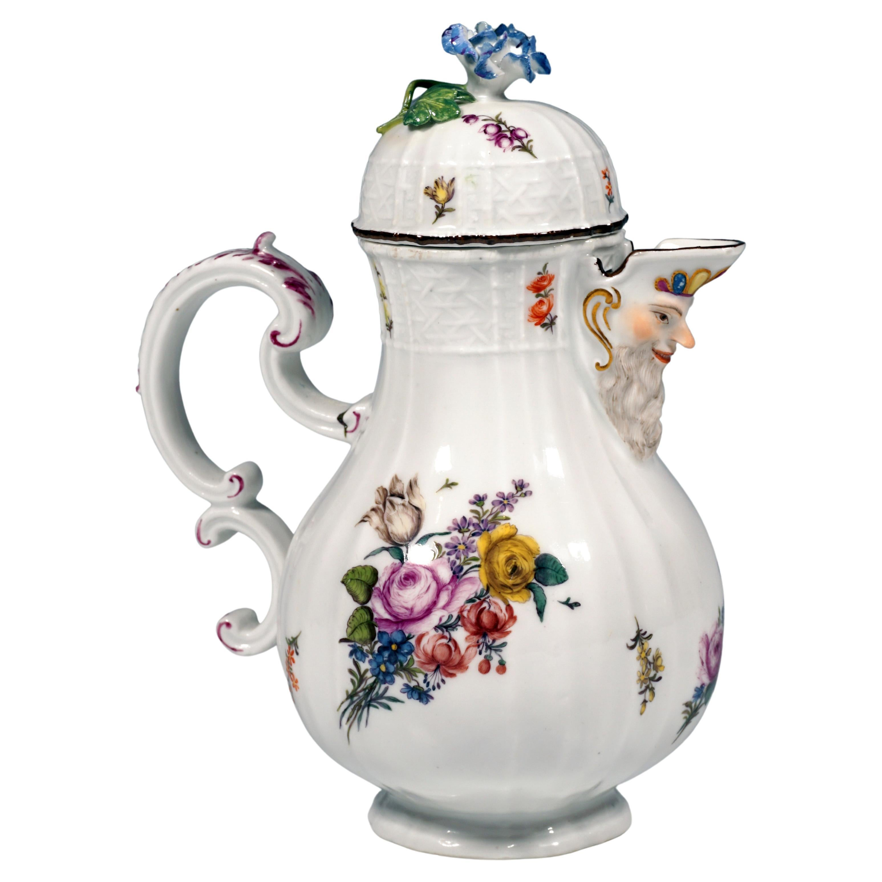 18th Century Meissen Lidded Mustard Jug, Bouquets and Scattered Flowers, ca 1745