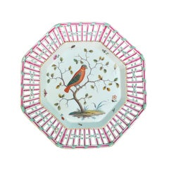 18th Century Meissen Octagonal Porcelain Plate with Bird, Reticulated Edge