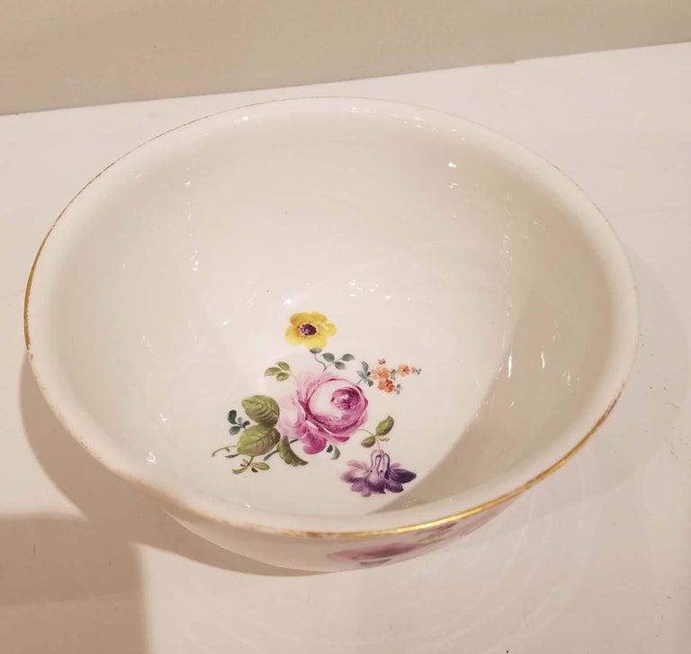 Meissen porcelain bowl circa 1780-1790.  Floral Hand painted decoration, Underglazed blue cross sword marks. 1st Quality.