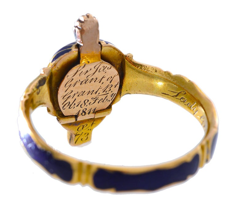 Georgian 18th Century Memorial Ring of Blue Enamel, Rose Cut Diamonds and Gold For Sale