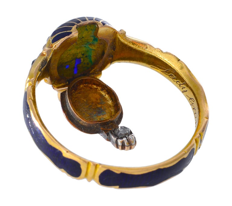 18th Century Memorial Ring of Blue Enamel, Rose Cut Diamonds and Gold In Good Condition For Sale In Melbourne, Victoria