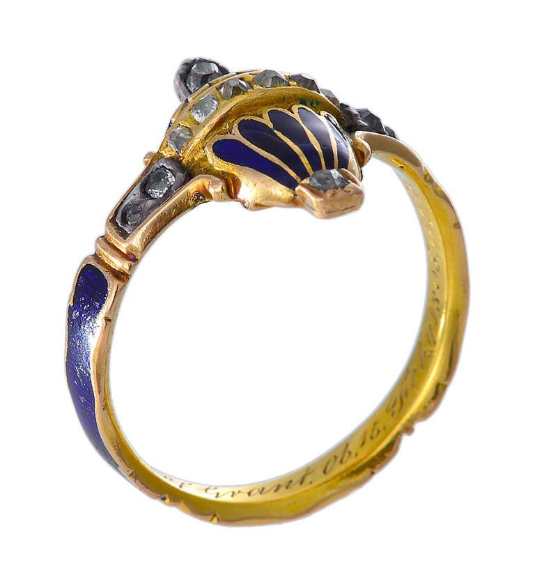 Women's or Men's 18th Century Memorial Ring of Blue Enamel, Rose Cut Diamonds and Gold For Sale