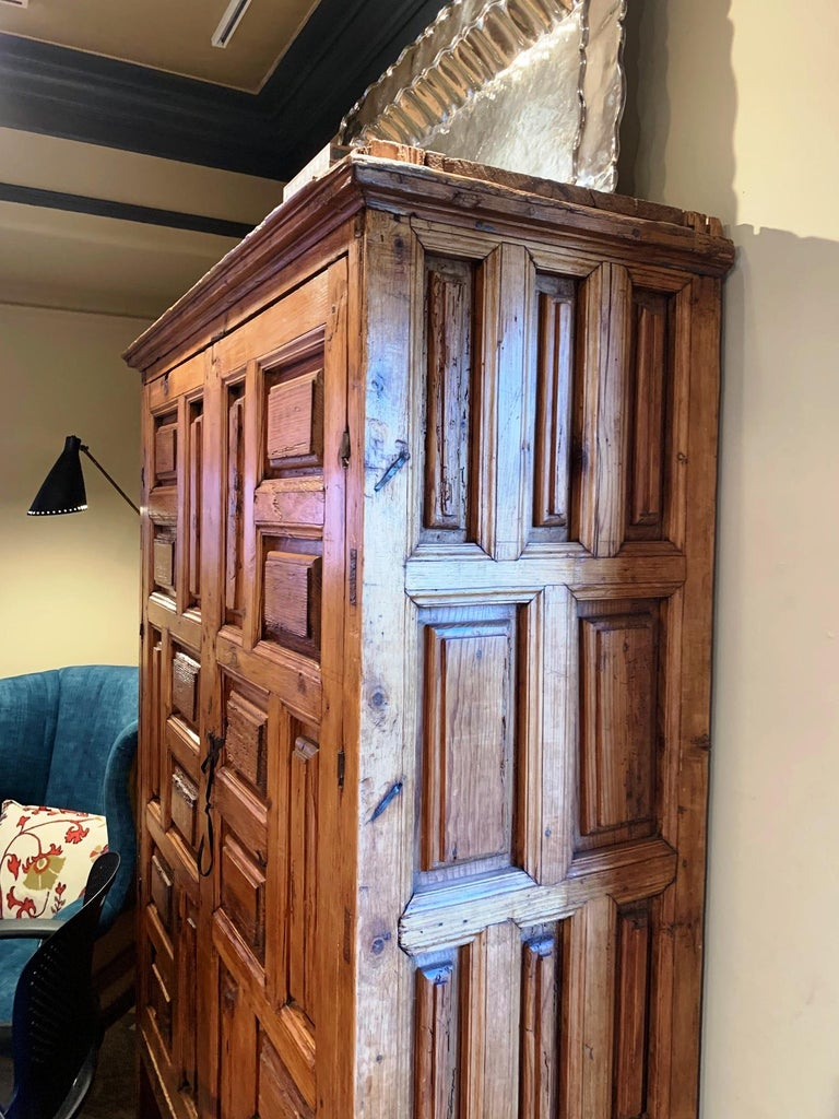 18th Century Mexican Carved Pine Armoire For Sale at 1stdibs