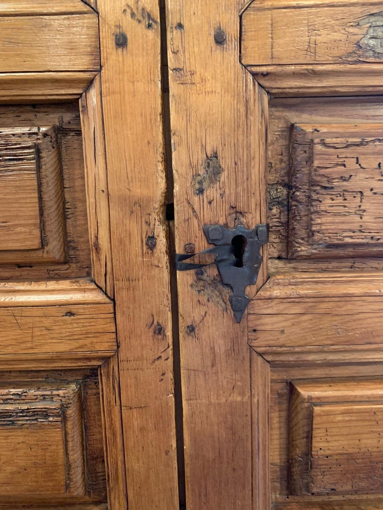 18th Century Mexican Carved Pine Armoire In Distressed Condition In Scottsdale, AZ