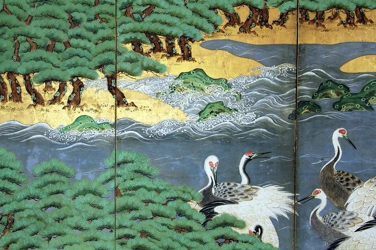 Painted 18th Century Mid-Edo Japanese Six Panels Folding Screen Gold Leaf For Sale