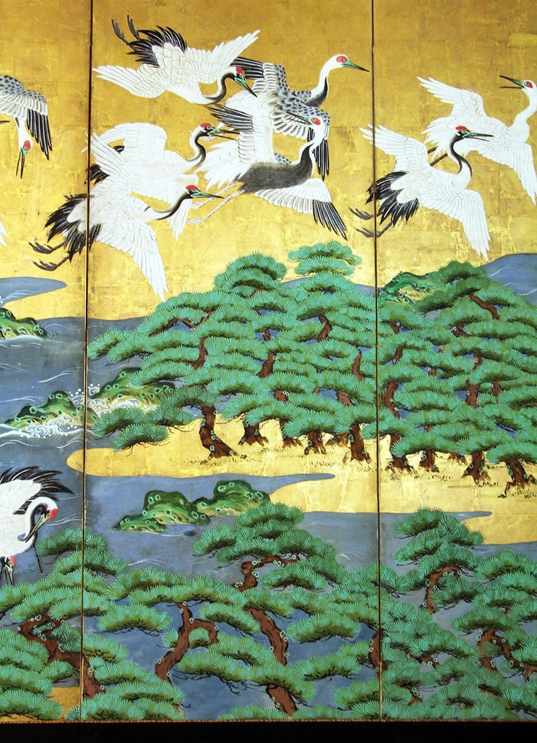 18th Century Mid-Edo Japanese Six Panels Folding Screen Gold Leaf In Good Condition For Sale In Brescia, IT