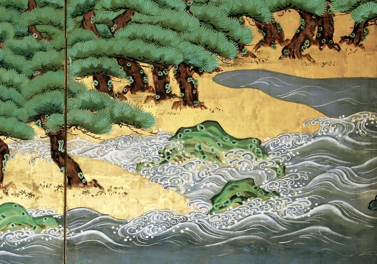 Paper 18th Century Mid-Edo Japanese Six Panels Folding Screen Gold Leaf For Sale