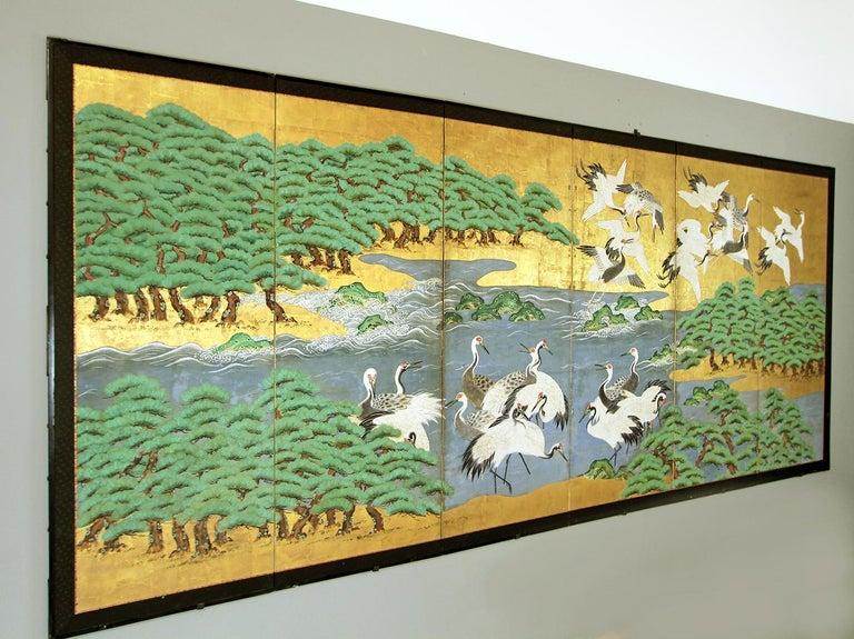 18th Century Mid-Edo Japanese Six Panels Folding Screen Gold Leaf For Sale 1