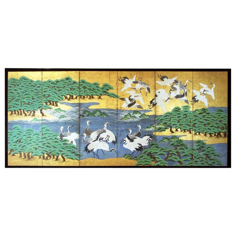 18th Century Mid-Edo Japanese Six Panels Folding Screen Gold Leaf For Sale